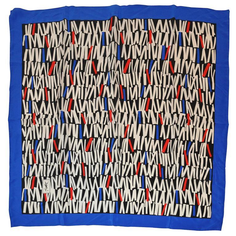 Yves Saint Laurent Multi Black, White, Red & Blaue Silk Crepe di Chine Scarf
