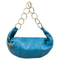 Chanel Teal Leather Bronze Tone 'CC' Ring Hobo Bag