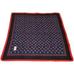 Yves Saint Laurent Bold Multi Red, Purple & Black Silk Scarf
