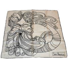 Rare Georgio Sant' Angelo Black & White Silk Scarf