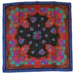 "Multi-Color ""Floral & Palsey"" Silk Scarf"