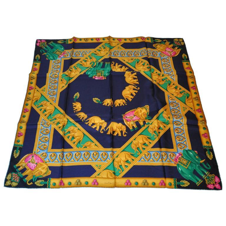 """Cartier Multi-Color Multi-Elephants Silk Jacquard """"Must be Cartier"""" Scarf"""