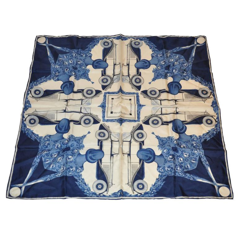 Mercedes benz navy and cream ladies and cars silk scarf for Mercedes benz clothes and accessories