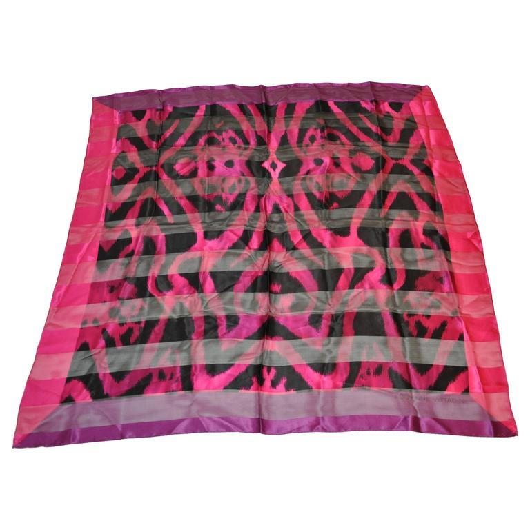 Adrienne Vittadini Multi-Shades of Fuchsia & Black Silk & Chiffon Scarf For Sale