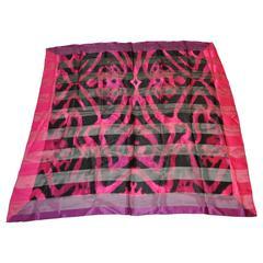 Adrienne Vittadini Multi-Shades of Fuchsia & Black Silk & Chiffon Scarf