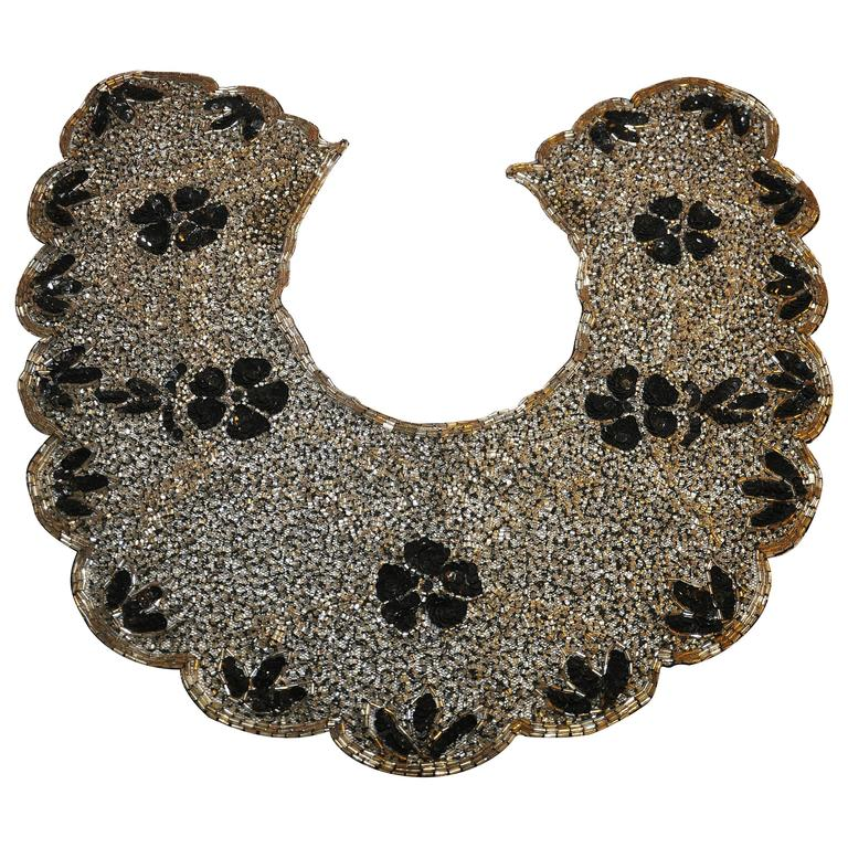 Mary McFadden Detailed Hand-Done Bugle Beads with Sequined Silk Collar For Sale