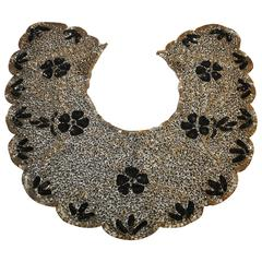 Mary McFadden Detailed Hand-Done Bugle Beads with Sequined Silk Collar