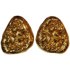 Yves Saint Laurent Huge Gilded Gold Clip On Earrings