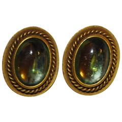 Yves Saint Laurent Pour Glass with Gold Tone Clip on Earrings