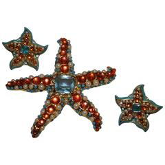 "Kenneth Jay Lane Whimsical Colorful Large ""StarFish"" Brooch and Earrings"