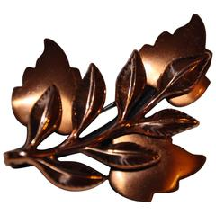 "Renoir ""Multi Leaves"" Gilded Copper Brooch"