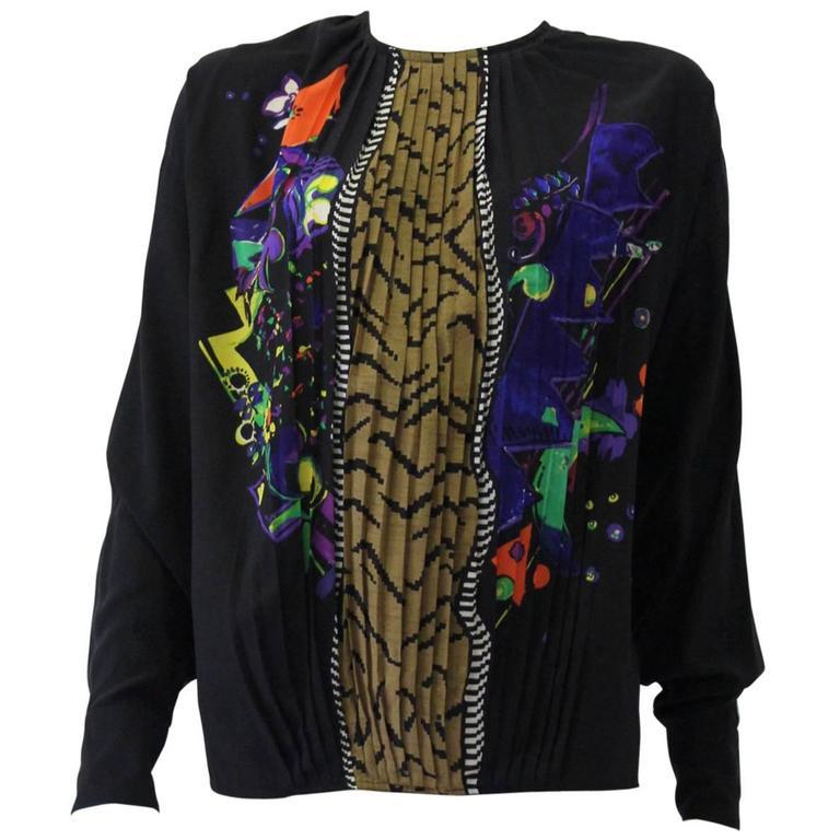 Very Rare Gianni Versace Silk Plisse Printed Shirt Fall 1989 1