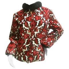 1960s Brocade Cut Velvet Zippered Jacket