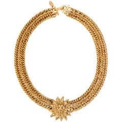 CHANEL 1980s CC Gold France Logo Lion Leo Sun Pendant Chunky Curb Chain Necklace