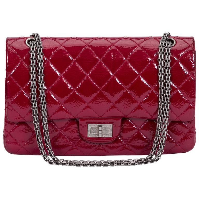 Chanel Burgundy Patent Jumbo Bag For