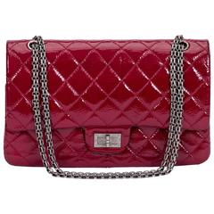 Chanel Burgundy Patent Jumbo Bag
