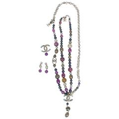 Chanel 4 Pcs Jewelry Set Silver Purple Grey