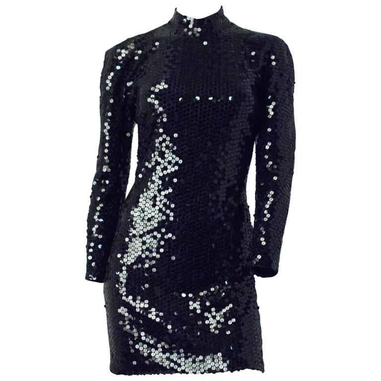 80s Oleg Cassini Black Sequin  Cocktail Dress Open Back