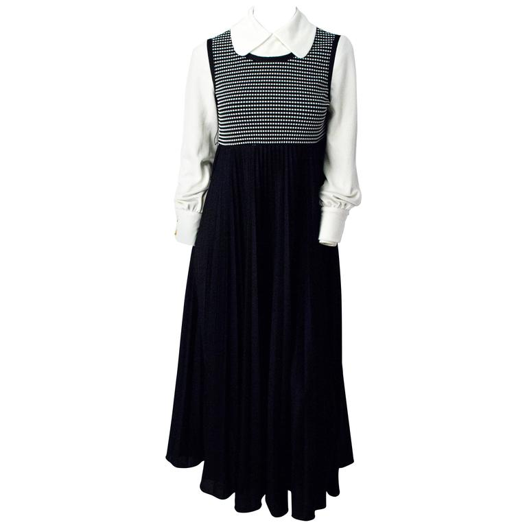 70s Black and White Empire Dress with Bishop Sleeves For Sale