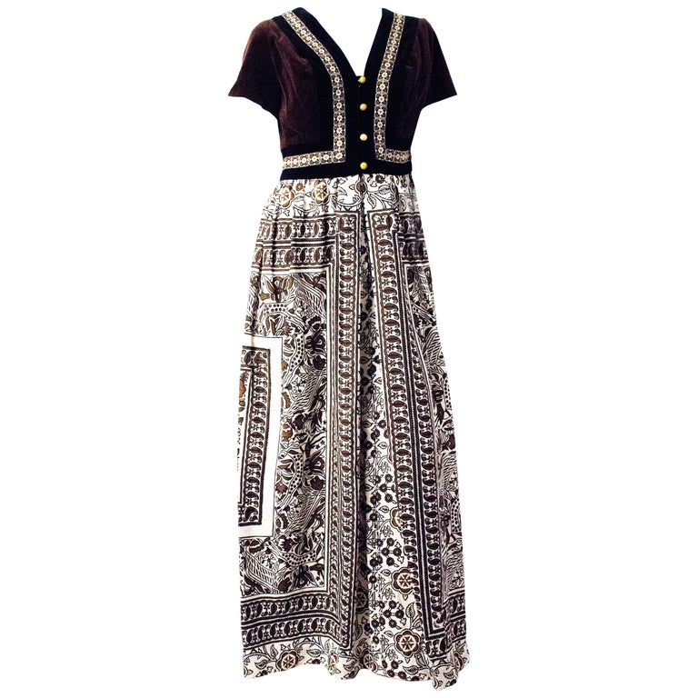 70s Jay Morley for Fern Violette Tapestry Dress For Sale
