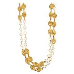 Vintage Chanel 1985 Gold Tone Crystal Oval 'CC' Logo Station Long Necklace