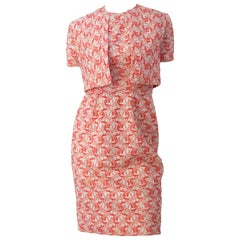 50s Carnation Pink Embroidered Cotton Eyelet Sheath Dress with Matching Bolero