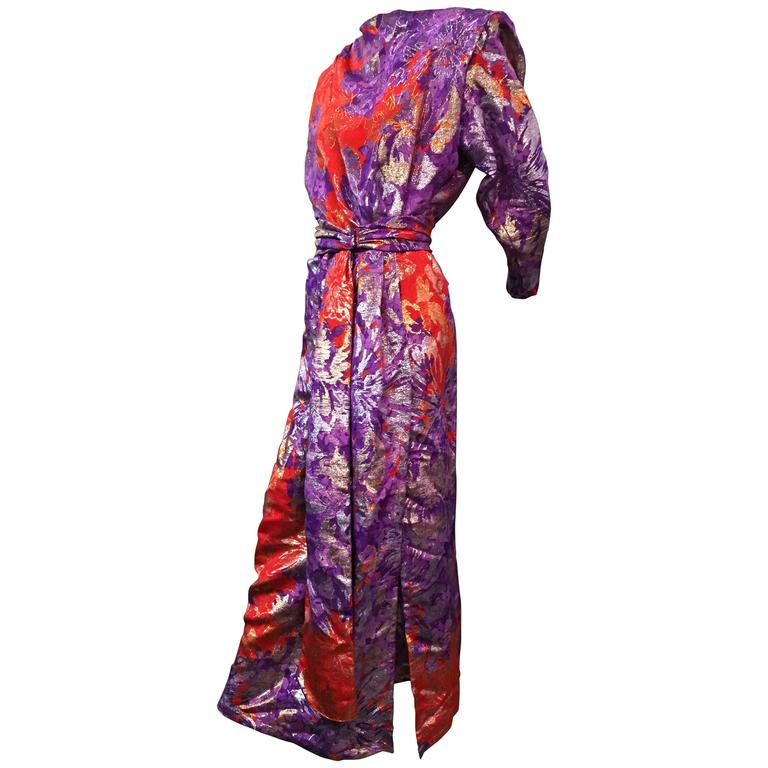 1980s Yves Saint Laurent Purple, Red and Gold Floral Brocade Gown 1
