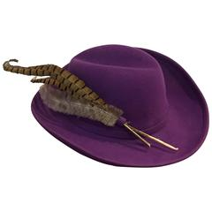 1970s Adolfo II Purple Felt Fedora with Pheasant Feathers