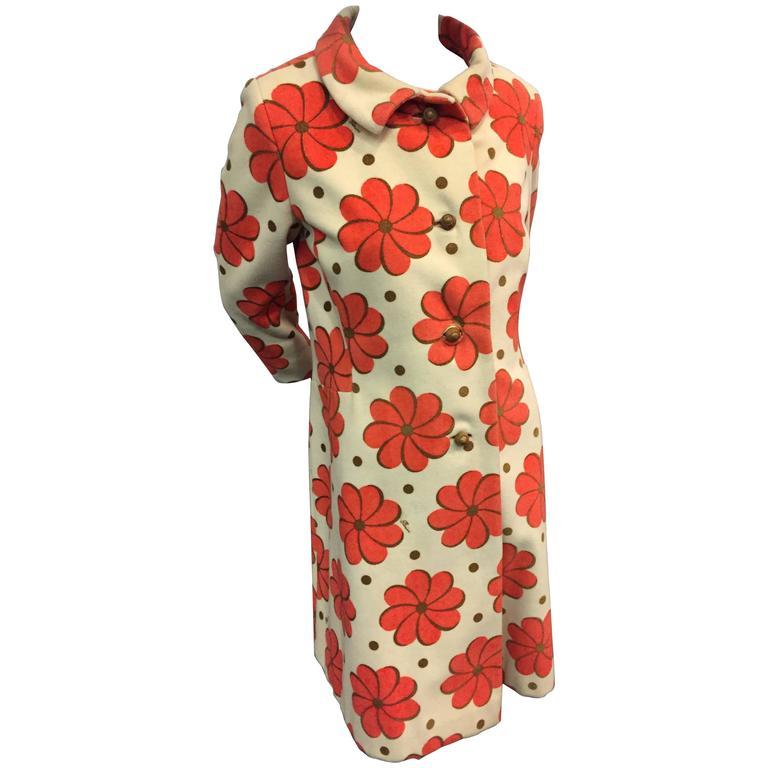 1960s Pierini Cream Italian Wool Coat in a Fabulous Orange Daisy Print 1