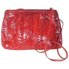 Vintage Red Palizzio Snakeskin Shoulder Bag