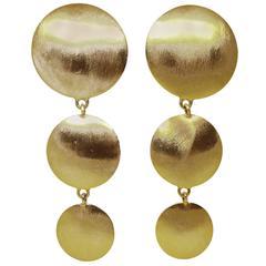 Vintage 1980's Long Golden Trio Disc Clip Earrings