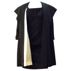 50s Black Satin Evening Coat (Coat Only)