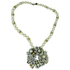Vintage 1950s Signed Miriam Haskell Floral Faux Pearl Necklace