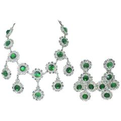 Signed Paco Rabanne Runway Mod Faux Emerald & Crystal Necklace & Earring Set