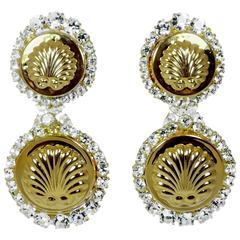 Robert Sorrell One-Of-A- Kind Golden Circular Seashell Crystal Clip Earrings