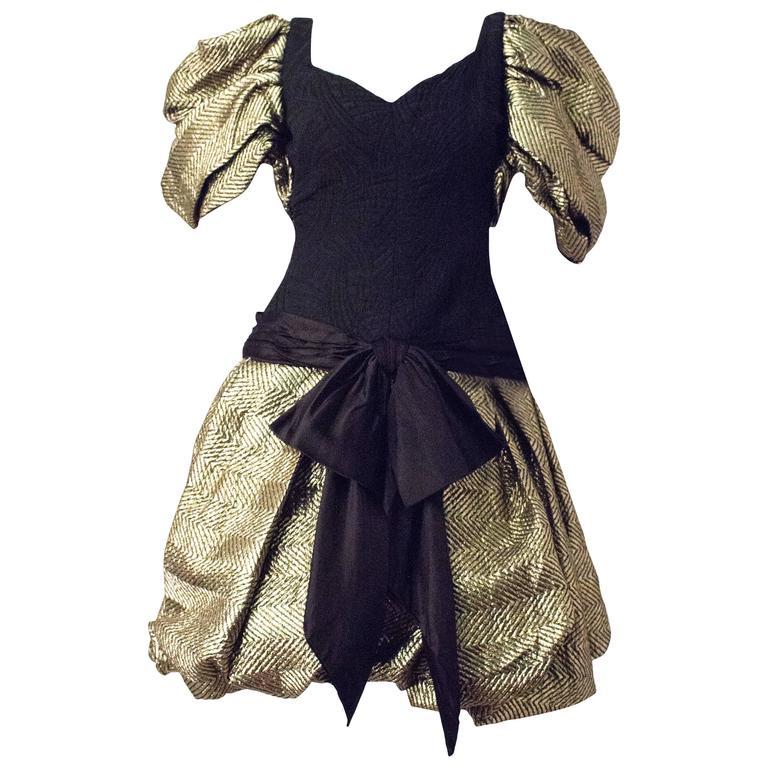 80s Elizabeth Arden Sweetheart Gold Jacquard Puff Sleeve Dress