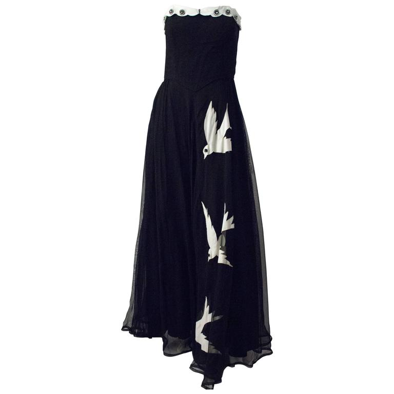 40s Strapless Black Chiffon White Bird Gown 1