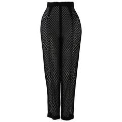 Istante By Gianni Versace Black Net Pants