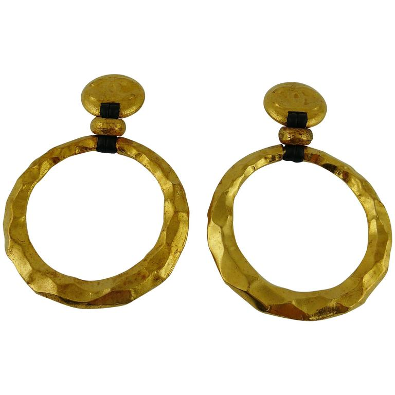 Chanel Vintage Rare Massive Hammered Hoop Dangle Earrings as seen on Beyonce For Sale