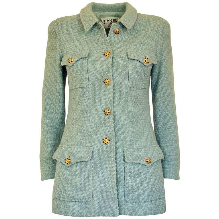 1996 Vintage Chanel  Azure Wool Jacket For Sale