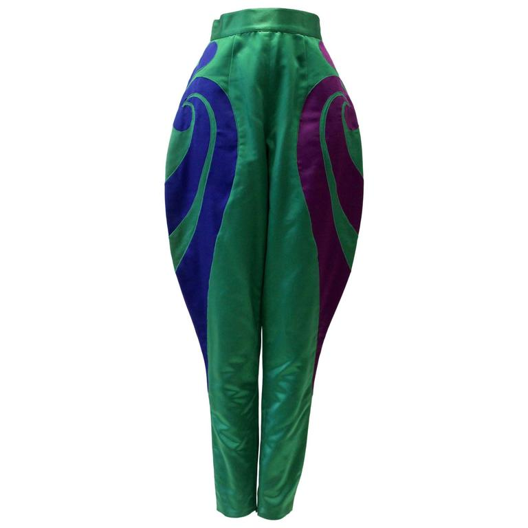 One Of A Kind Gianni Versace Silk Applique Jodhpurs Spring 1990 For Sale