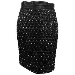 Gianni Versace Quilted black leather & rhinestone skirt 1980s
