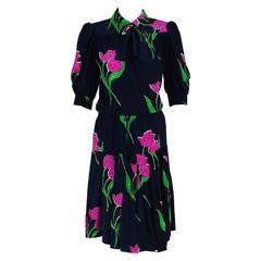 1976 Givenchy Demi-Couture Tulip Floral-Print Silk Ascot Puff-Sleeve Dress Set