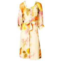 Eric de Juan Floral Print Chiffon Day Dress