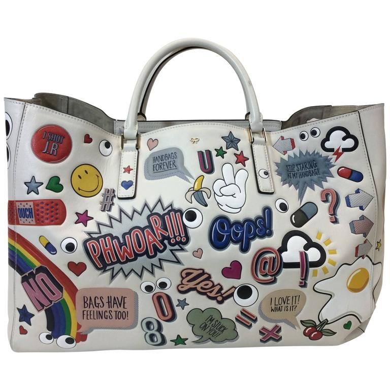 e8fe28a60c Anya Hindmarch Ebury Sticker-Print Leather Tote Bag For Sale at 1stdibs
