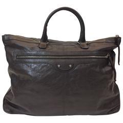 Balenciaga Brown Leather Weekender Handbag