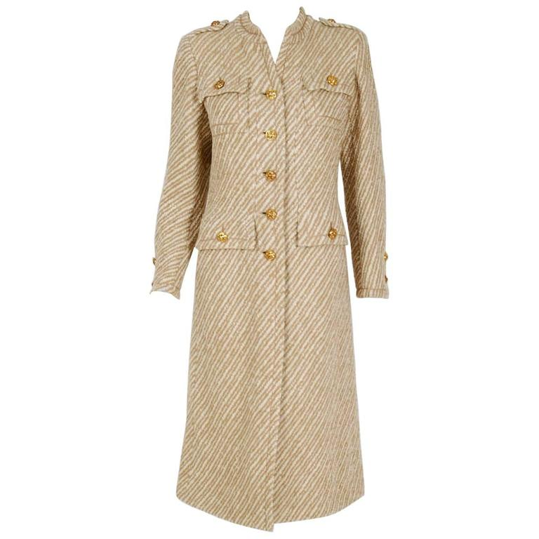 1972 chanel haute couture ivory and beige striped wool mod for Haute couture jacket