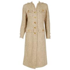 1972 Chanel Haute-Couture Ivory & Beige Striped Wool Mod Military Jacket Coat