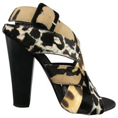 Giuseppe Zanotti Black Woven Animal Print Pony Hair Alien Sandals Heels