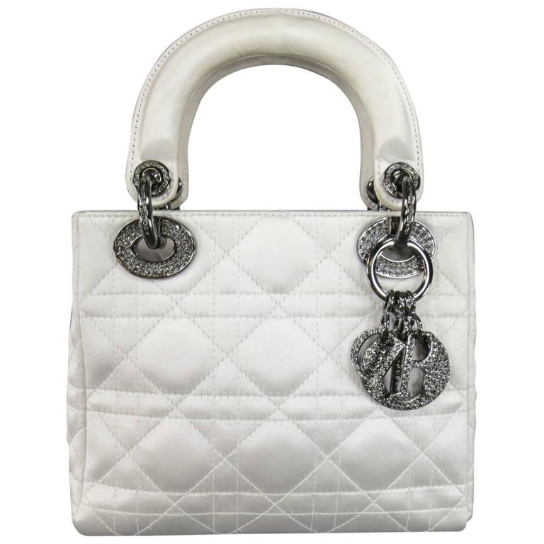 CHRISTIAN DIOR White Cannage Silk Crystal Hardware Mini Lady Dior Bag at  1stdibs 2a8b5b4a84070